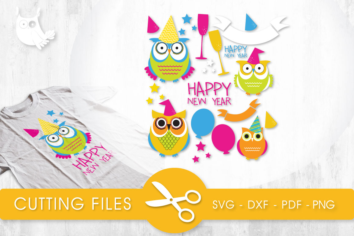New Year Owls Graphic Crafts By PrettyCuttables