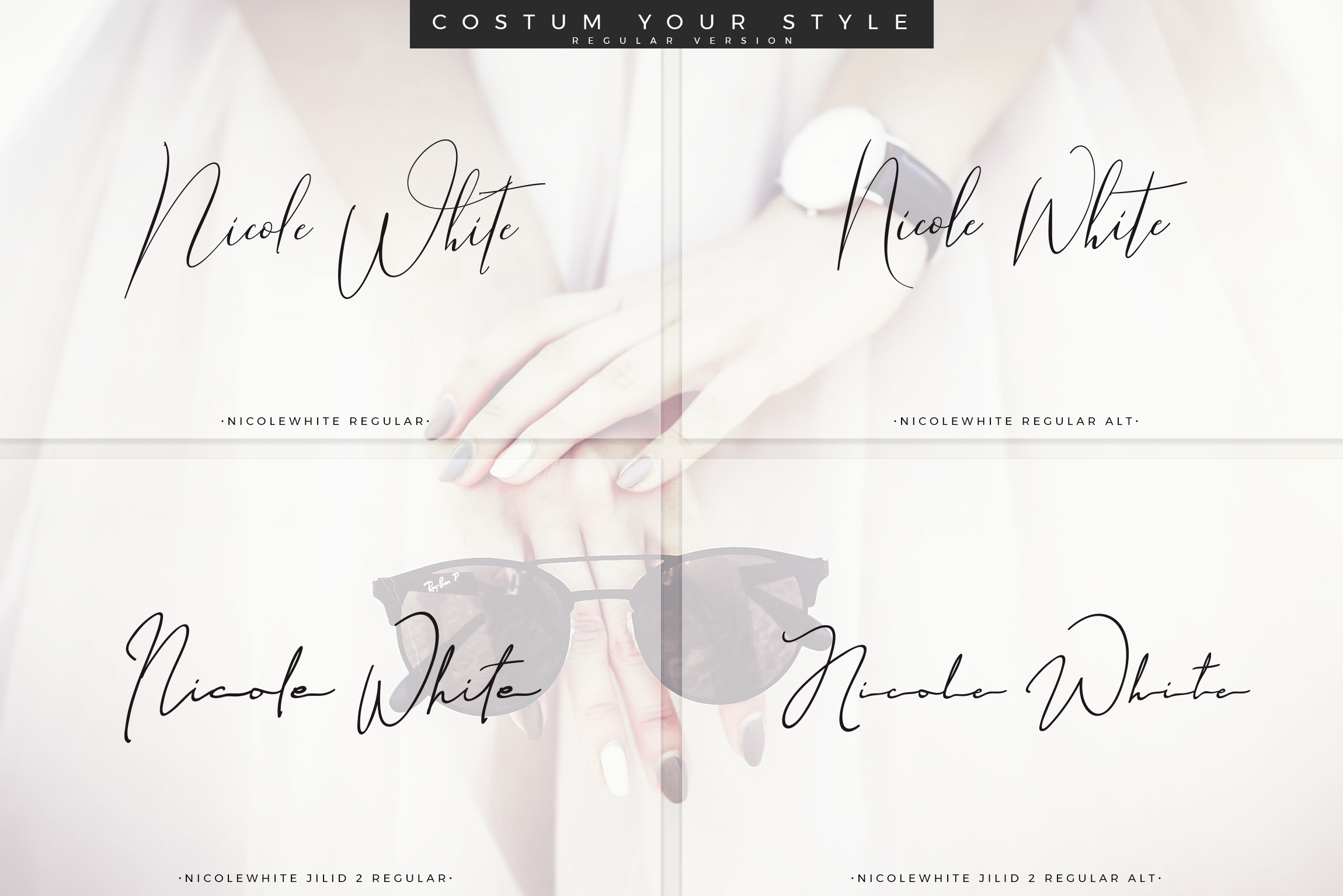 Print on Demand: Nicole White Script & Handwritten Font By Aqr Typeface - Image 2