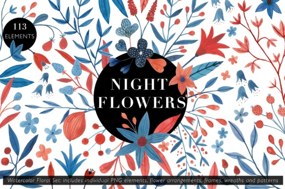 Night Flowers Watercolor Floral Set Graphic Illustrations By juliabausenhardt - Image 1