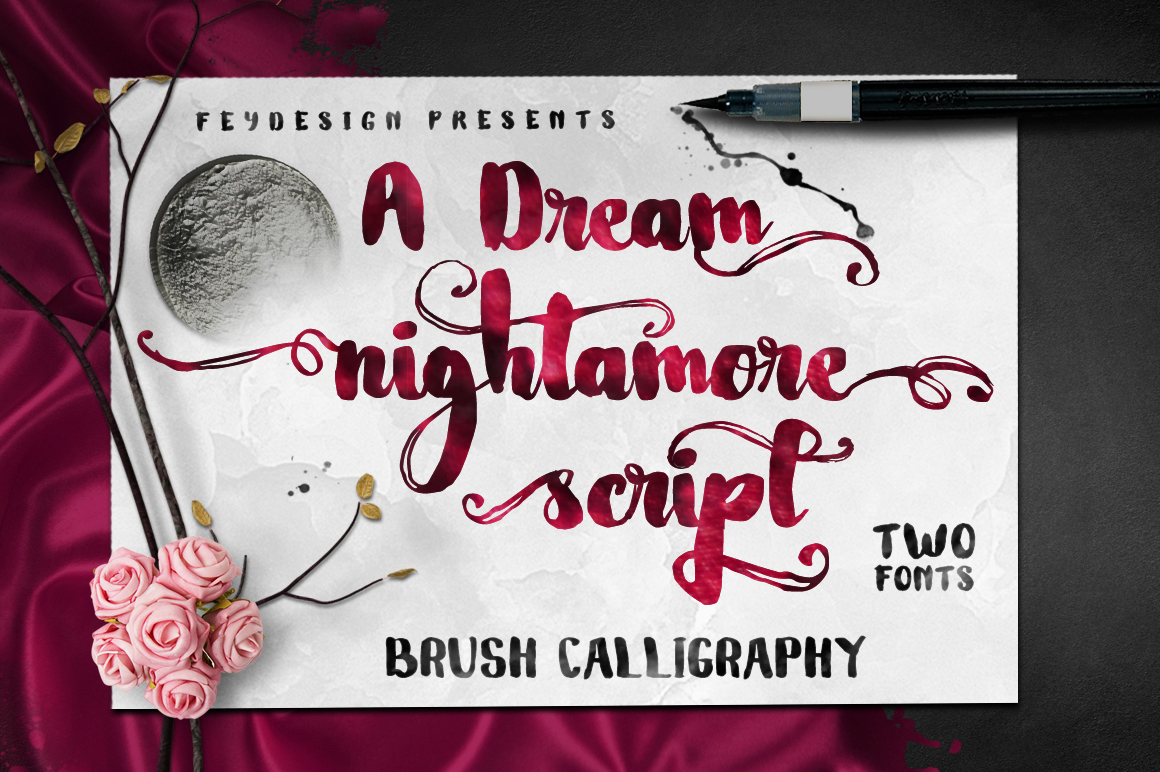 Print on Demand: Nightamore Script & Handwritten Font By feydesign