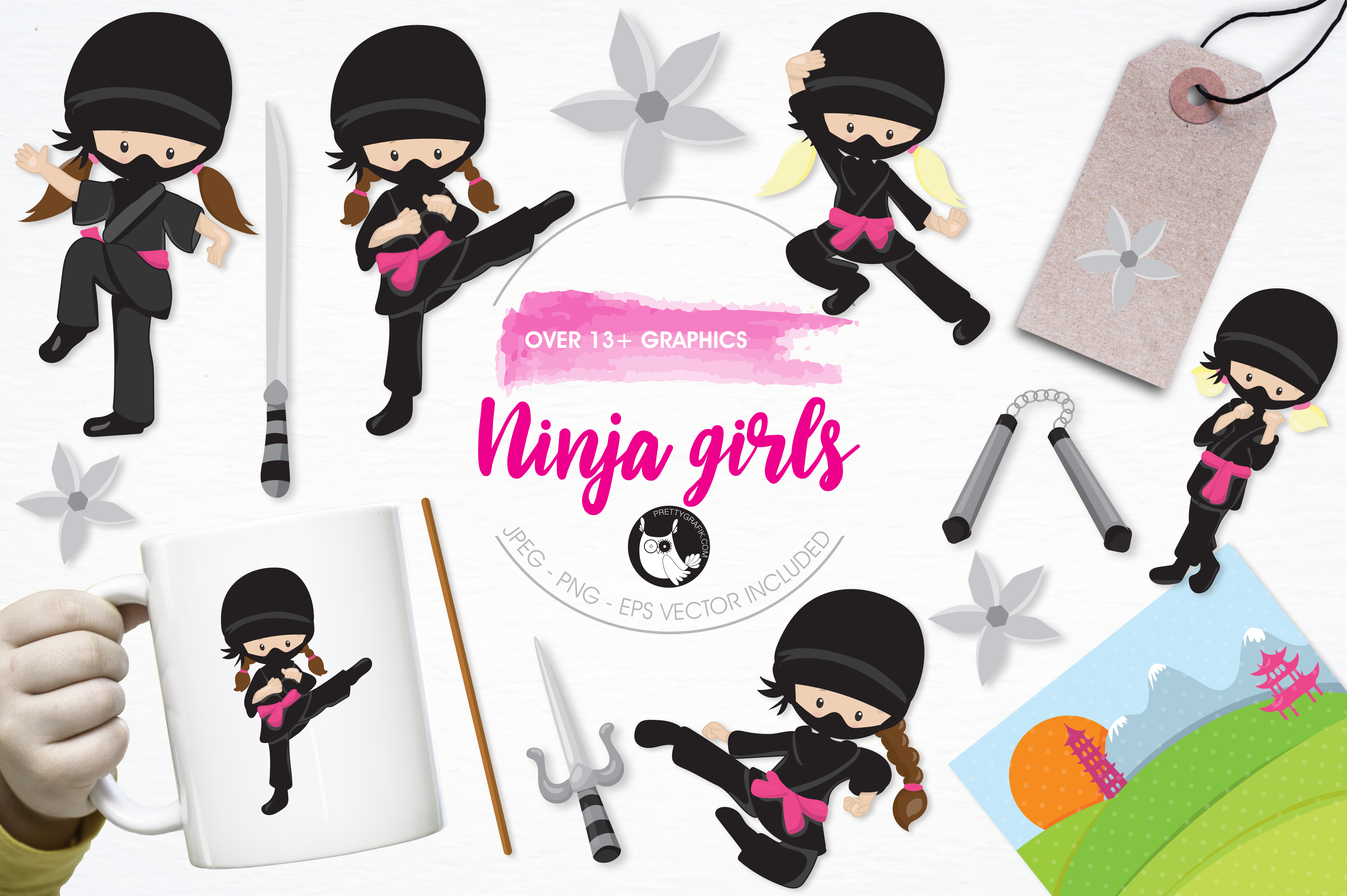 Print on Demand: Ninja Girls Graphic Illustrations By Prettygrafik