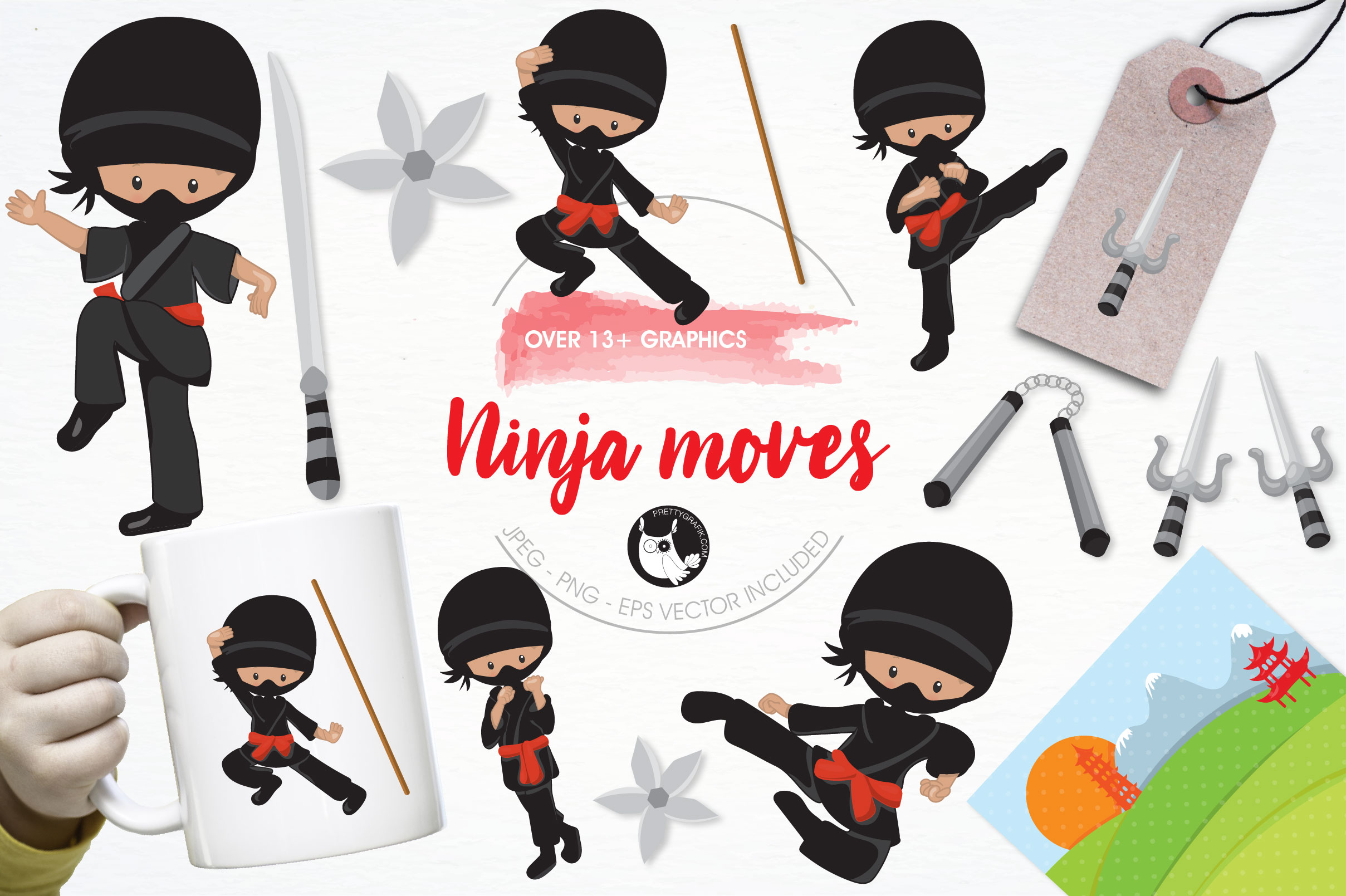 Print on Demand: Ninja Moves Graphic Illustrations By Prettygrafik