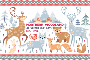 Northern Woodland. Animals and Plants in Ethnic Style. Graphic By Olga Belova