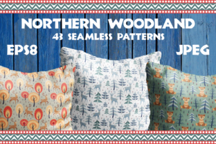 Northern Woodland. Seamless Patterns with Cute Animals. Graphic By Olga Belova