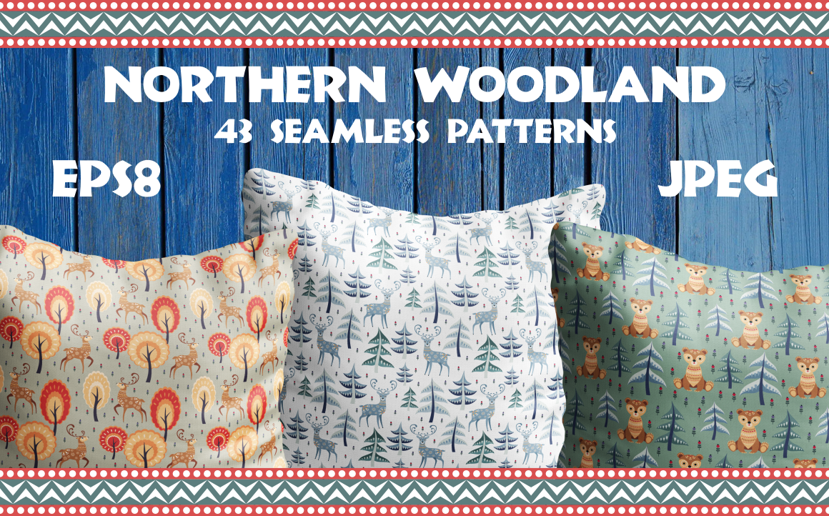 Print on Demand: Northern Woodland. Seamless Patterns with Cute Animals. Graphic Patterns By Olga Belova