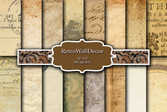 Print on Demand: Old Digital Papers Graphic Backgrounds By retrowalldecor