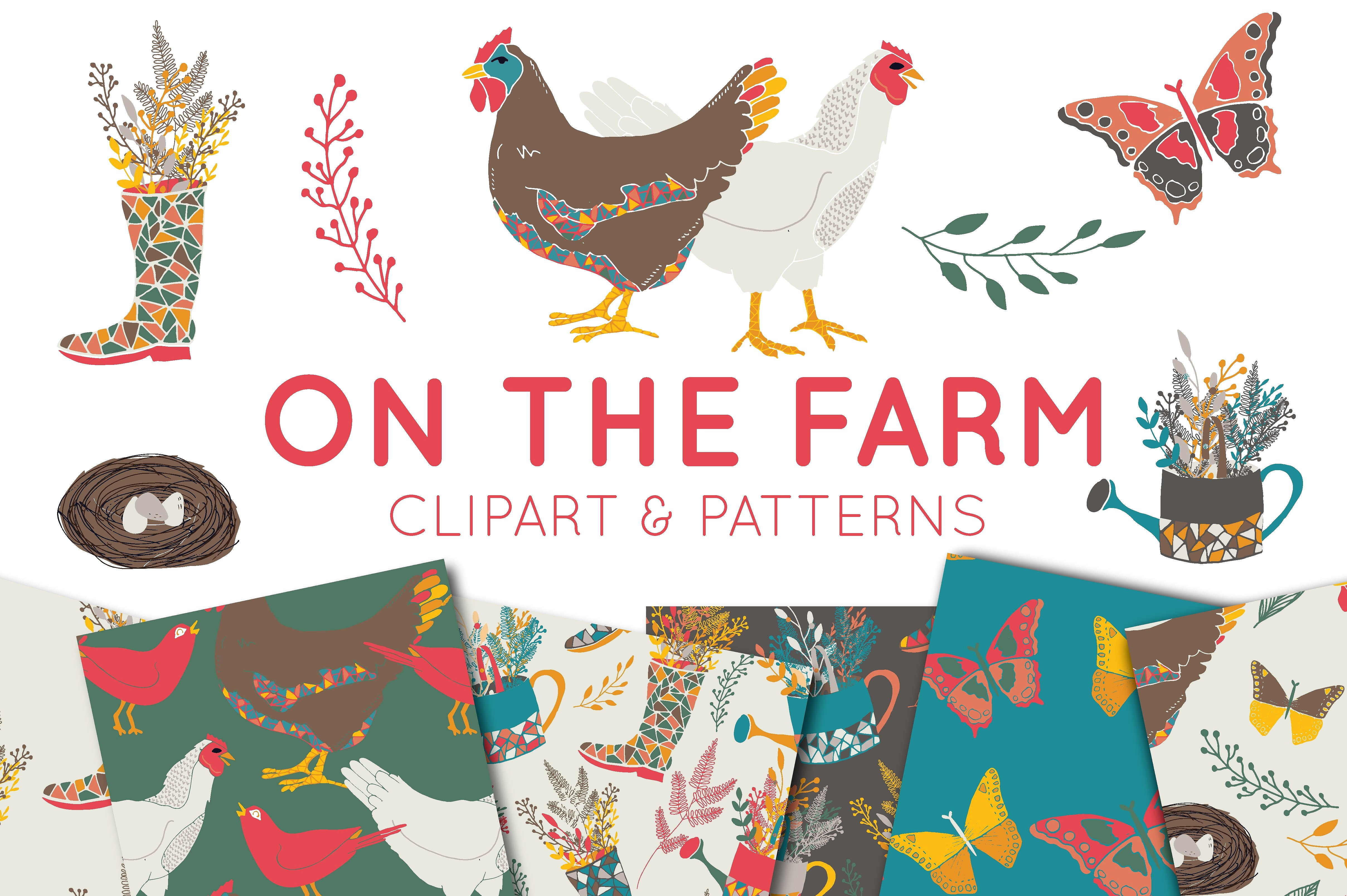 Print on Demand: On the Farm Clipart and Digital Paper Set Graphic Illustrations By illuztrate