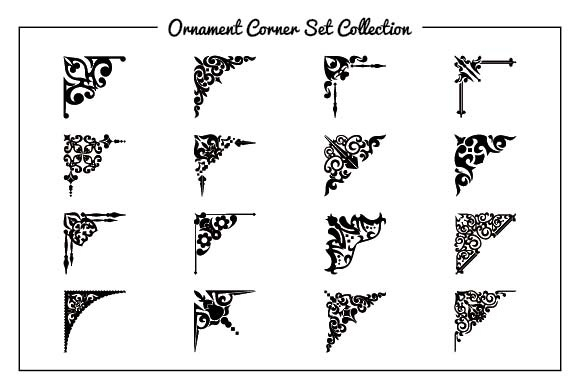 Ornament Corner Set Graphic Patterns By emnazar2009