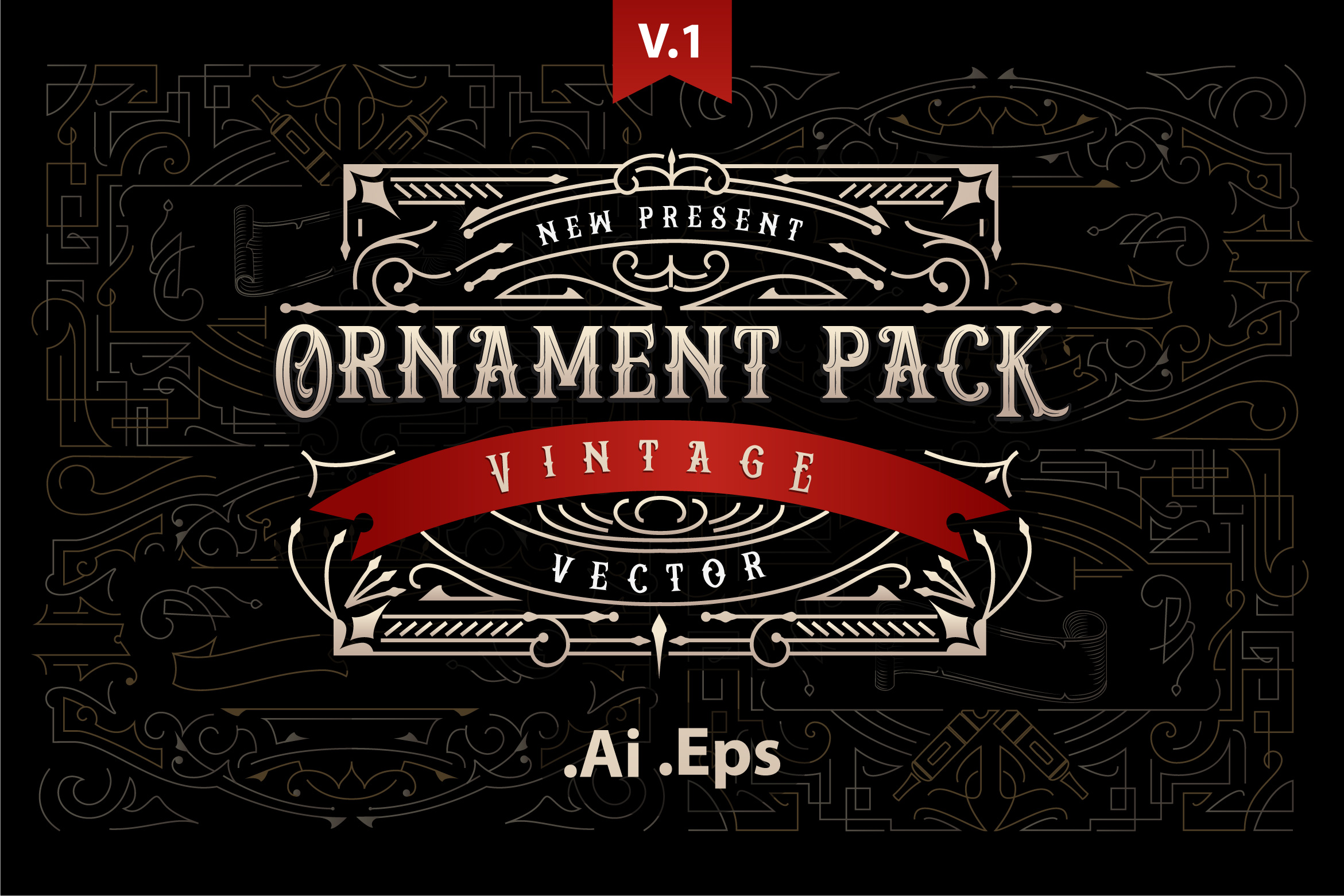 Ornament Pack Vintage 1 Graphic By storictype Image 1