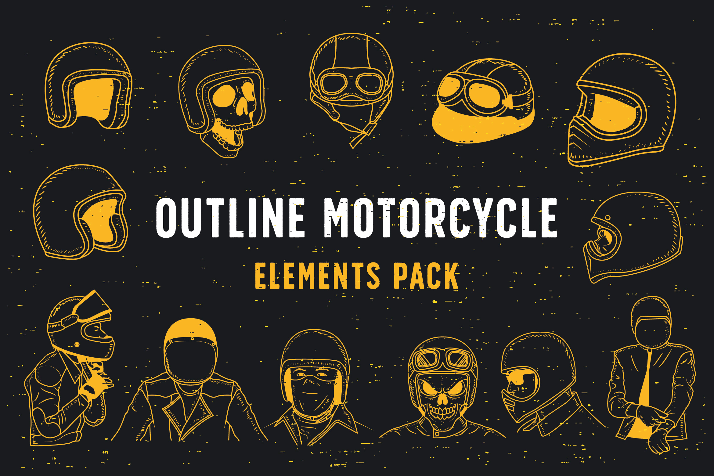 Outline Motorcycle Elements Pack Graphic Illustrations By storictype - Image 1