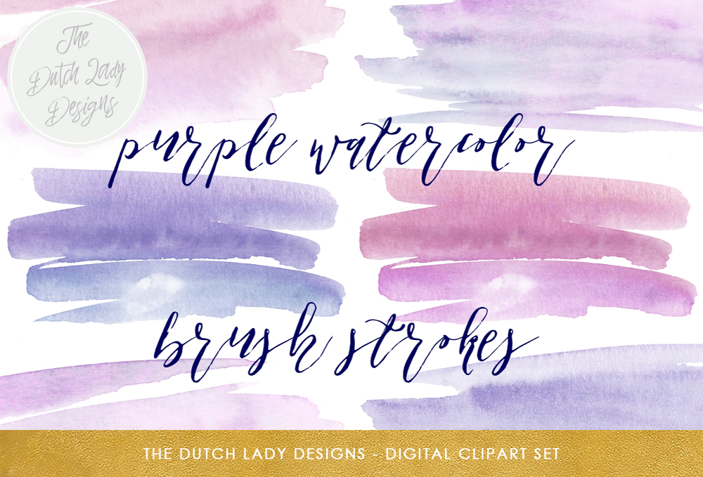 Print on Demand: Paint Brush Stroke Clipart - Purple Watercolor Graphic Backgrounds By daphnepopuliers