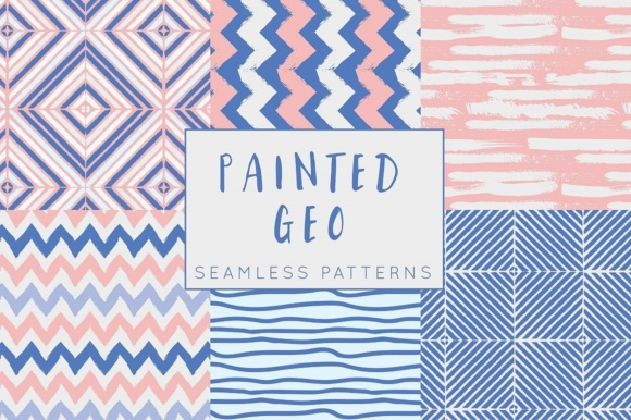 Print on Demand: Painted Geo Seamless Patterns - Pink and Blue Digital Paper Set Graphic Patterns By illuztrate