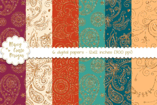 Paisley Glitter Backgrounds – Boho Graphic By MarcyCoateDesigns
