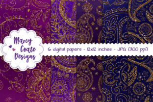 Paisley Glitter Backgrounds – Pink, Blue, Purple Graphic By MarcyCoateDesigns