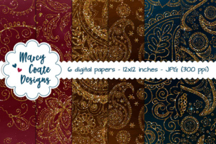 Paisley Glitter Backgrounds – Wine, Teal, Chocolate Graphic Backgrounds By MarcyCoateDesigns
