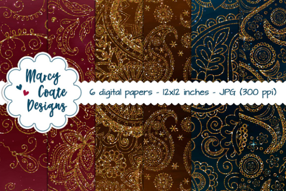 Paisley Glitter Backgrounds – Wine, Teal, Chocolate Graphic Illustrations By MarcyCoateDesigns - Image 1
