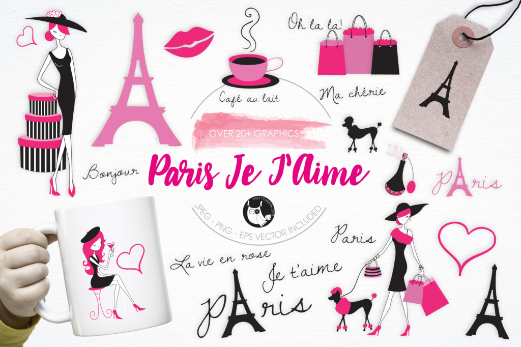 Download Free Paris Je T Aime Graphic By Prettygrafik Creative Fabrica for Cricut Explore, Silhouette and other cutting machines.