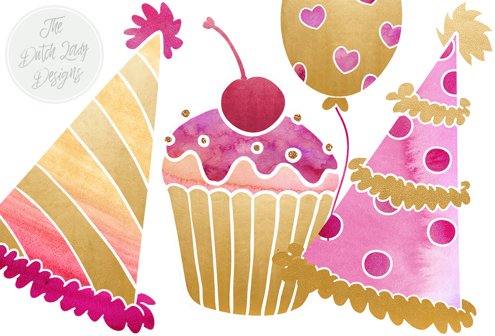 Download Free Party Cake Clipart Set In Pink Purple And Gold Birthday for Cricut Explore, Silhouette and other cutting machines.