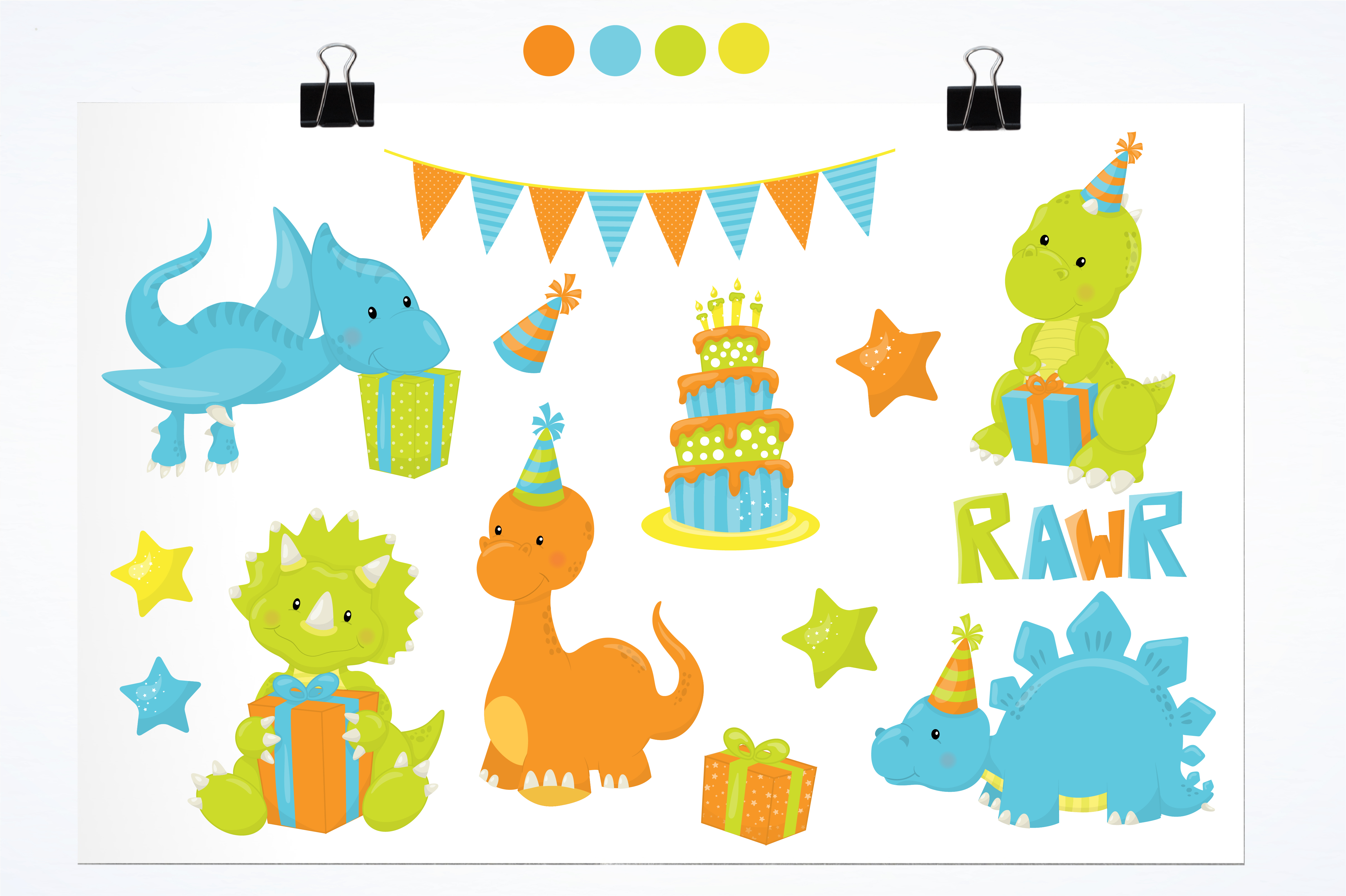 Print on Demand: +14 Party Dinos Graphic Illustrations By Prettygrafik - Image 2