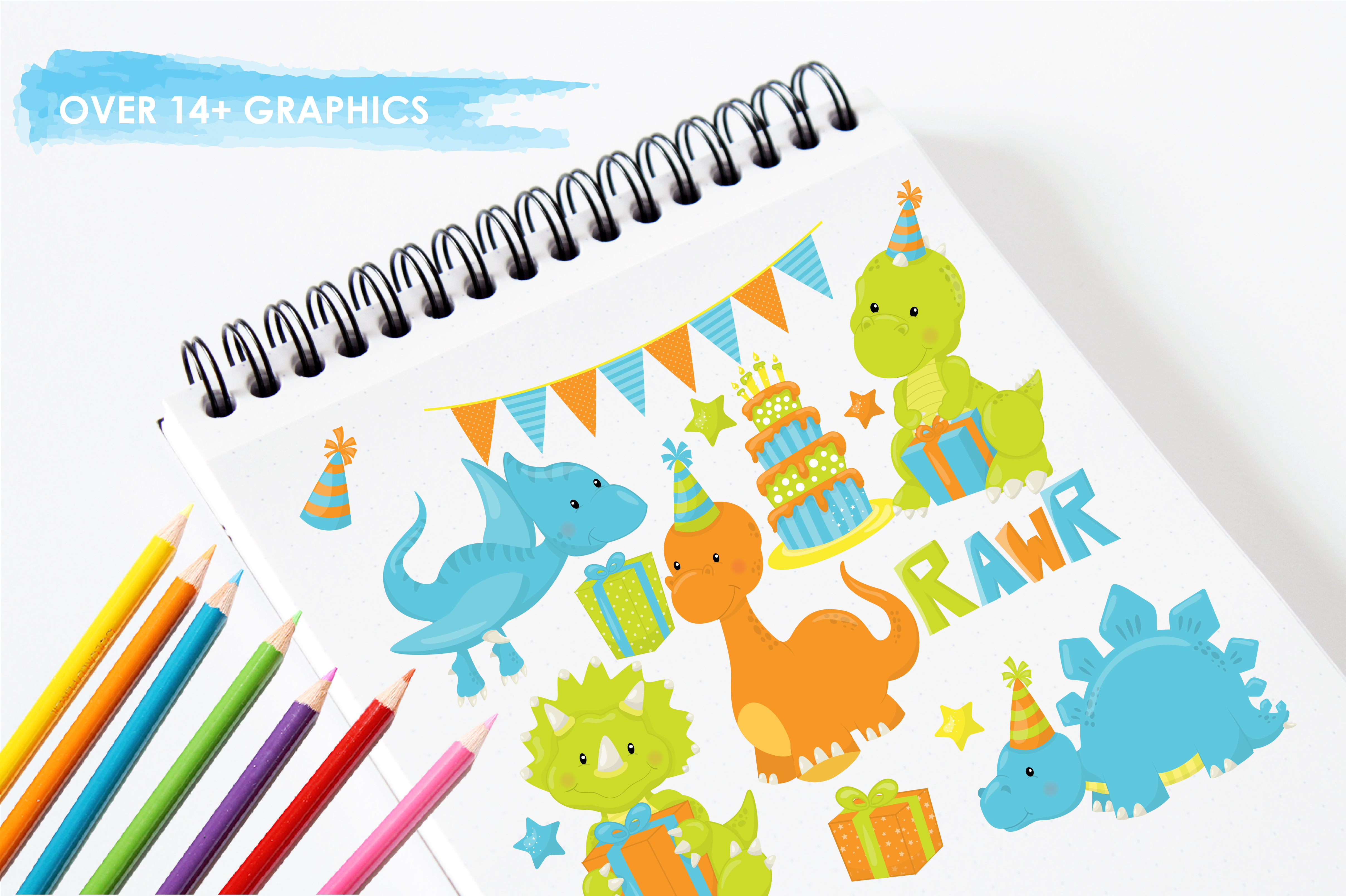 Print on Demand: +14 Party Dinos Graphic Illustrations By Prettygrafik - Image 3