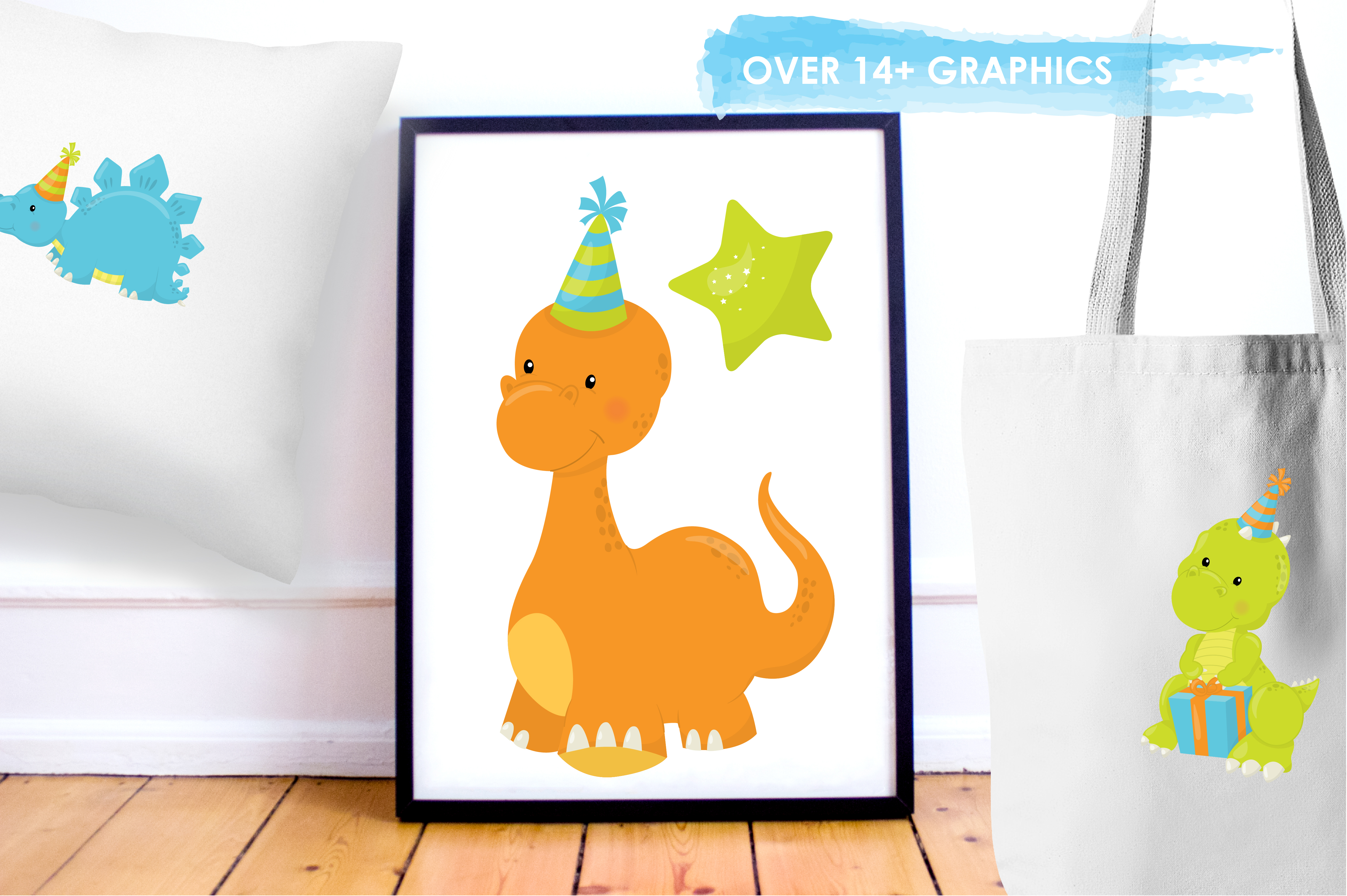 Print on Demand: +14 Party Dinos Graphic Illustrations By Prettygrafik - Image 5