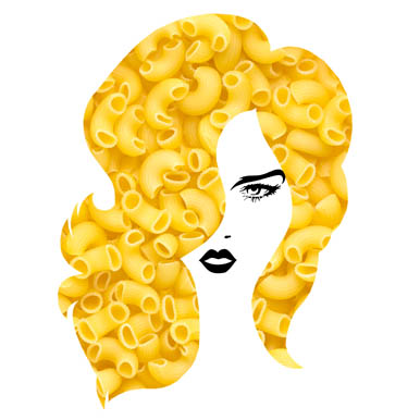 Pasta Hairstyle. Graphic Food & Drinks By Sasha_Brazhnik