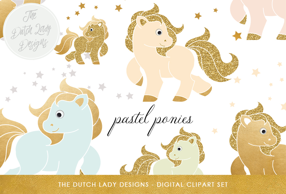 Print on Demand: Pastel Pony Clipart Set Graphic Illustrations By daphnepopuliers