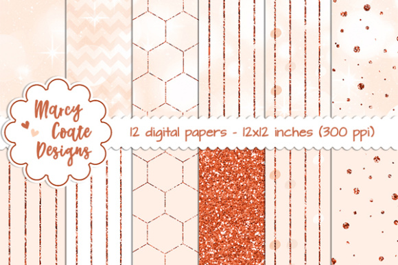 Peach Bokeh & Glitter Patterns Graphic Backgrounds By MarcyCoateDesigns