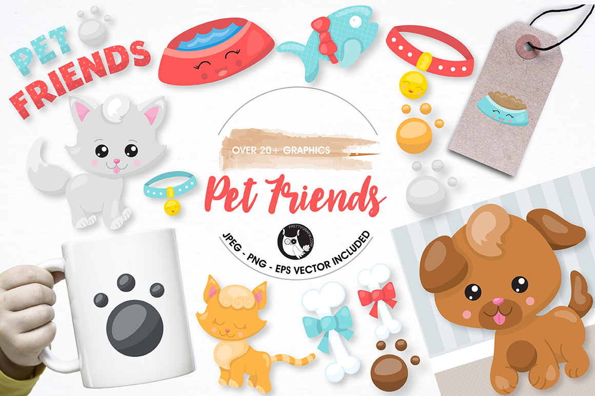 Print on Demand: Pet Friends Graphic Illustrations By Prettygrafik