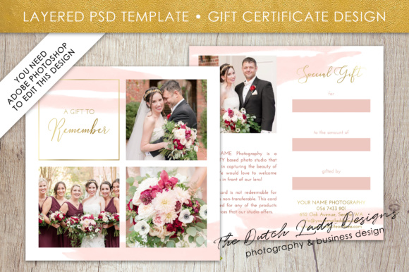 photography gift certificate template photo gift card layered psd files design 40