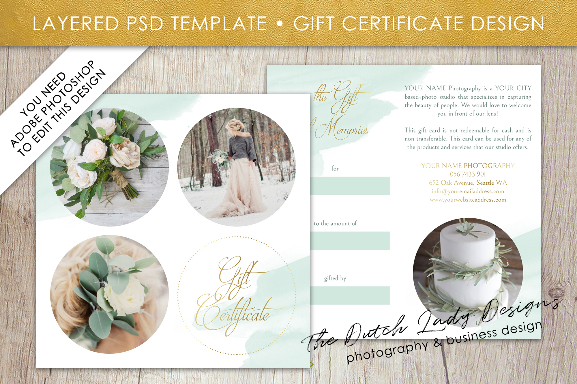 photography gift certificate template photo gift card layered psd files design 39. Black Bedroom Furniture Sets. Home Design Ideas