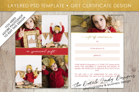 Print on Demand: Photography Gift Certificate Template - Photo Gift Card - Layered .PSD Files - Design #35 Graphic Graphic Templates By daphnepopuliers