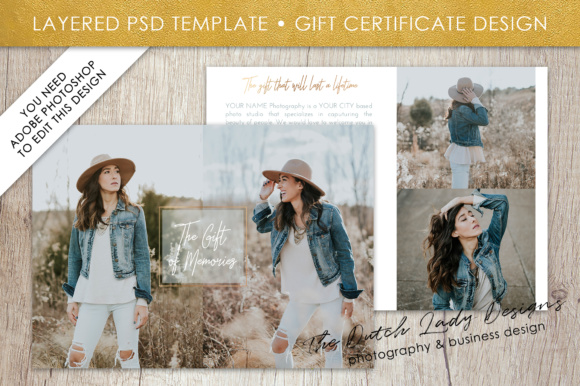 Print on Demand: Photography Gift Certificate Template - Photo Gift Card - Layered .PSD Files - Design #33 Graphic Graphic Templates By daphnepopuliers