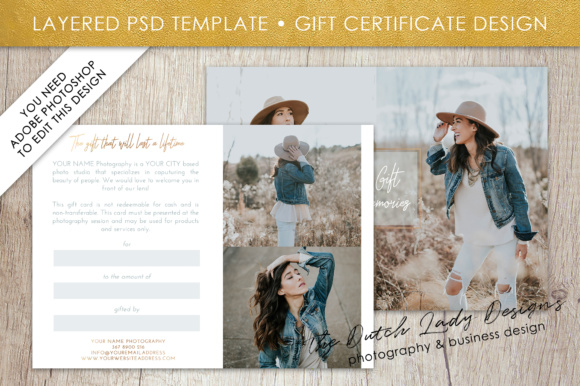 Print on Demand: Photography Gift Certificate Template - Photo Gift Card - Layered .PSD Files - Design #33 Graphic Graphic Templates By daphnepopuliers - Image 2