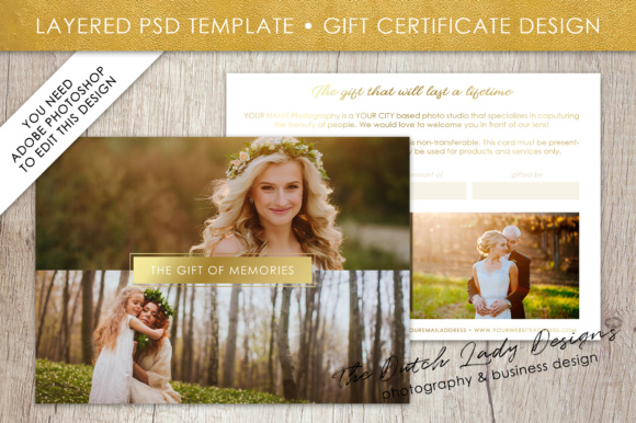 Print on Demand: Photography Gift Certificate Template - Photo Gift Card - Layered .PSD Files - Design #32 Graphic Graphic Templates By daphnepopuliers