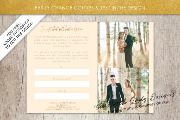 Print on Demand: Photography Gift Certificate Template - Photo Gift Card - Layered .PSD Files - Design #33 Graphic Graphic Templates By daphnepopuliers - Image 4