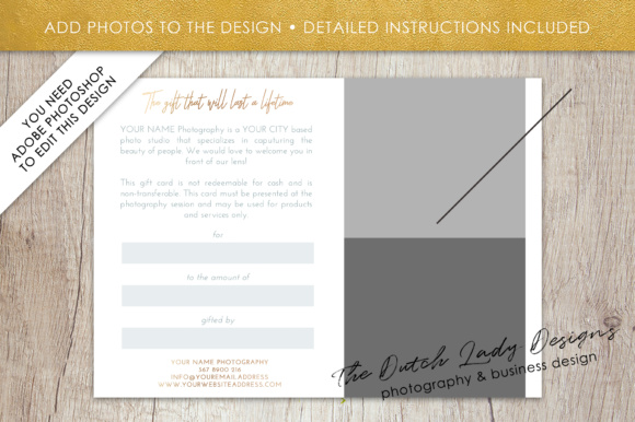 Print on Demand: Photography Gift Certificate Template - Photo Gift Card - Layered .PSD Files - Design #33 Graphic Graphic Templates By daphnepopuliers - Image 5