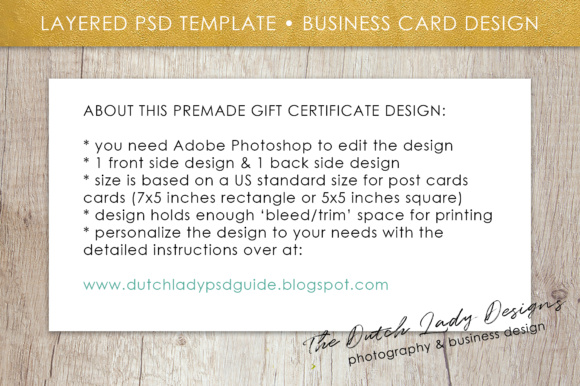 Print on Demand: Photography Gift Certificate Template - Photo Gift Card - Layered .PSD Files - Design #33 Graphic Graphic Templates By daphnepopuliers - Image 6