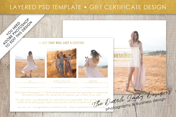 photography gift certificate template photo gift card layered psd files design 31 graphics