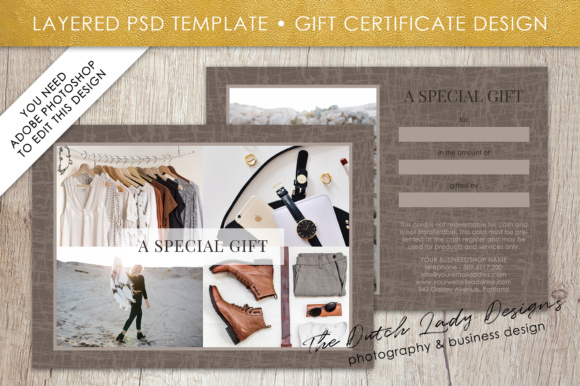 Print on Demand: Photography Gift Certificate Template - Photo Gift Card - Layered .PSD Files - Design #29 Graphic Graphic Templates By daphnepopuliers