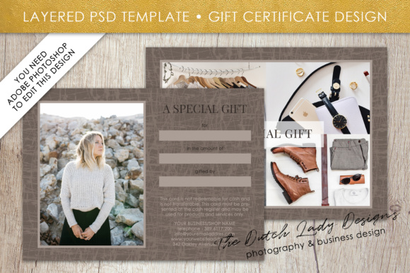 Print on Demand: Photography Gift Certificate Template - Photo Gift Card - Layered .PSD Files - Design #29 Graphic Graphic Templates By daphnepopuliers - Image 2