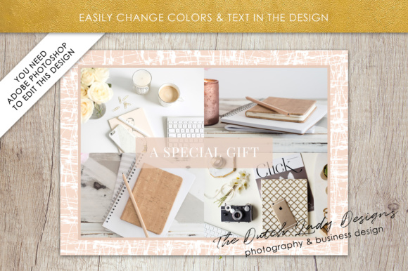 Print on Demand: Photography Gift Certificate Template - Photo Gift Card - Layered .PSD Files - Design #29 Graphic Graphic Templates By daphnepopuliers - Image 3