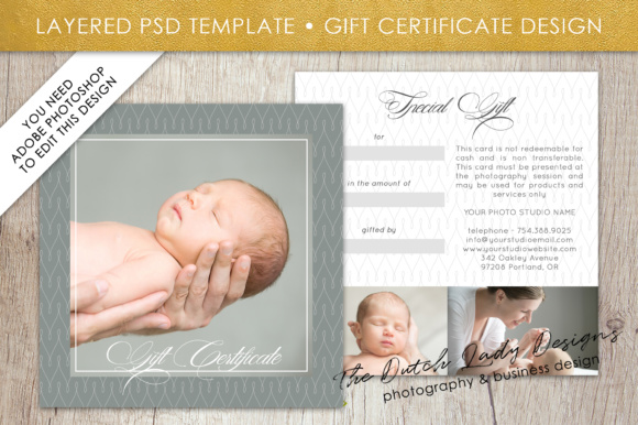 Print on Demand: Photography Gift Certificate Template - Photo Gift Card - Layered .PSD Files - Design #28 Graphic Graphic Templates By daphnepopuliers