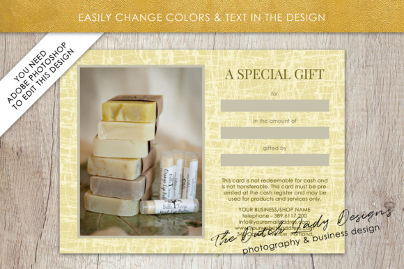 Print on Demand: Photography Gift Certificate Template - Photo Gift Card - Layered .PSD Files - Design #29 Graphic Graphic Templates By daphnepopuliers - Image 4