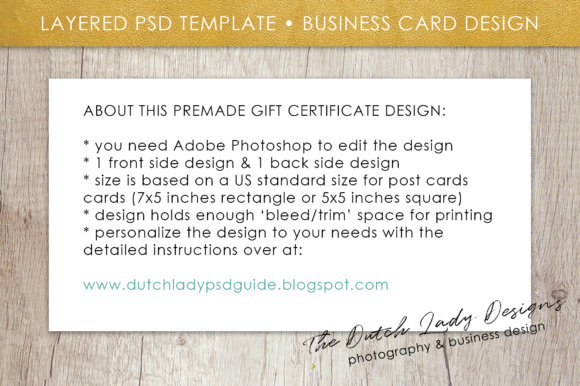 Print on Demand: Photography Gift Certificate Template - Photo Gift Card - Layered .PSD Files - Design #29 Graphic Graphic Templates By daphnepopuliers - Image 6