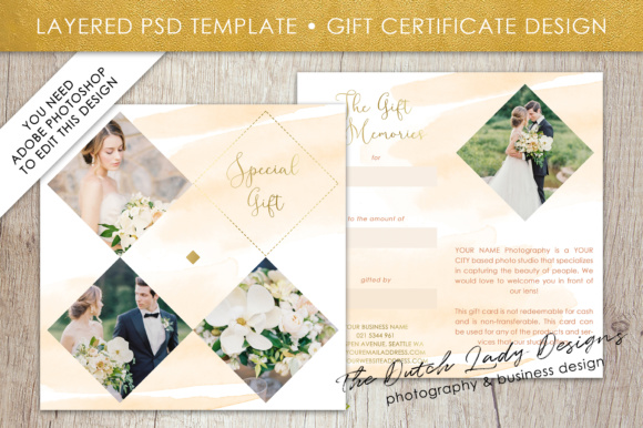 Photography Gift Certificate Template - Photo Gift Card - Layered ...