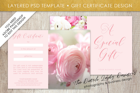 Photography Gift Certificate Template Photo Gift Card Layered