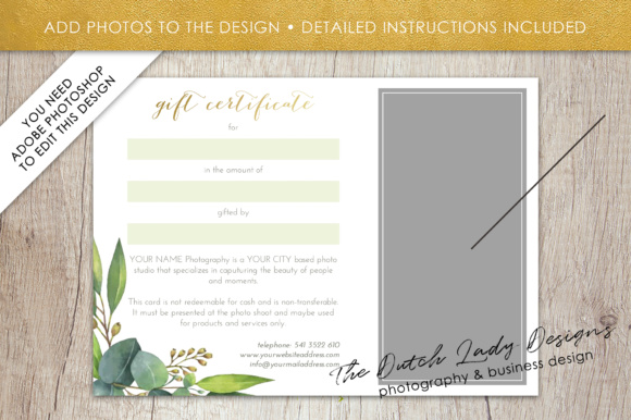 Print on Demand: Photography Gift Certificate Template - Photo Gift Card - Watercolor Style - Layered .PSD Files - Design #45 Graphic Graphic Templates By daphnepopuliers - Image 5