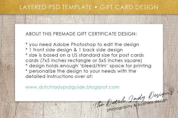 Print on Demand: Photography Gift Certificate Template - Photo Gift Card - Watercolor Style - Layered .PSD Files - Design #45 Graphic Graphic Templates By daphnepopuliers - Image 6