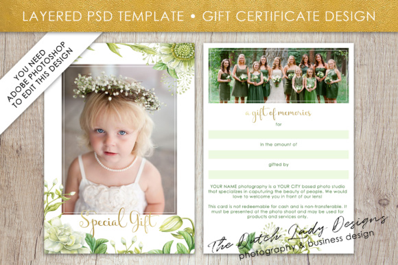 Print on Demand: Photography Gift Certificate Template - Photo Gift Card - Watercolor Spring Flower - Layered .PSD Files - Design #44 Graphic Graphic Templates By daphnepopuliers - Image 1
